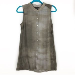Eileen Fisher 100% Silk Button Down Tunic Tank